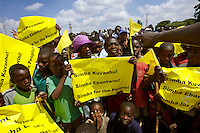 Supporters of opposition presidential candidate and former Zanu PF MP Simba Makoni at a rally in Harare the week before the 29 March 2008 General Elections...