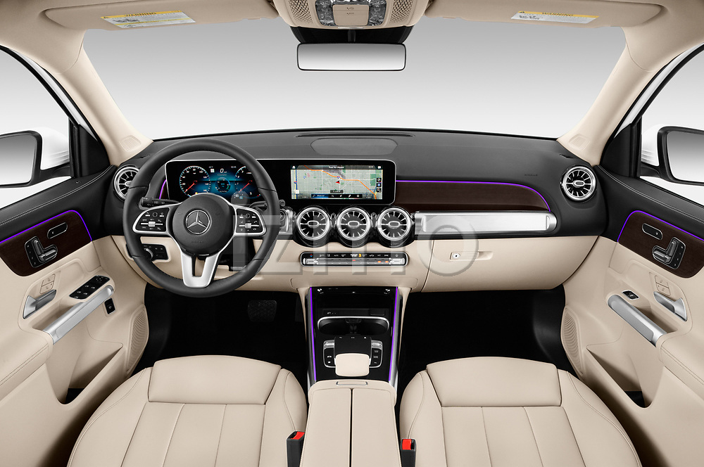 Stock photo of straight dashboard view of a 2020 Mercedes Benz GLB GLB250 5 Door SUV