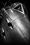 Gloster Meteor jet in hanger - black and white close up