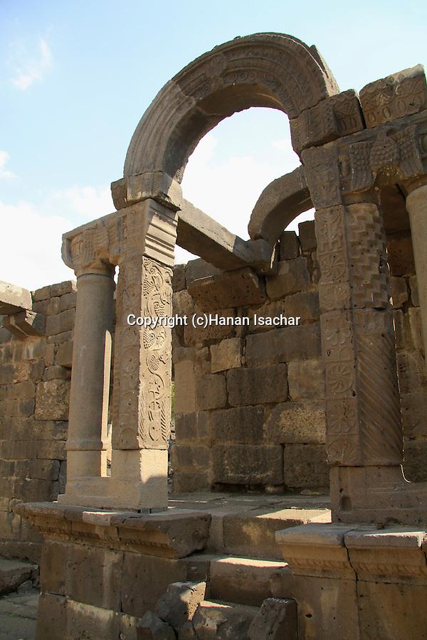 Golan Heights, the Bema at Umm el Kanatir ancient Synagogue