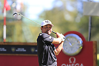Hideto Tanihara (JPN) tees off the 6th tee during Saturday's Round 3 of the 2018 Omega European Masters, held at the Golf Club Crans-Sur-Sierre, Crans Montana, Switzerland. 8th September 2018.<br /> Picture: Eoin Clarke | Golffile<br /> <br /> <br /> All photos usage must carry mandatory copyright credit (&copy; Golffile | Eoin Clarke)