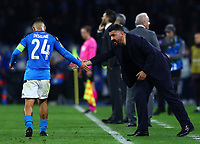 25th February 2020; Stadio San Paolo, Naples, Campania, Italy; UEFA Champions League Football, Napoli versus Barcelona; Lorenzo Insigne of Napoli fist pumps his manager Gattuso