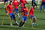 Spainsh Alvaro morata, Nacho Fernandez and Sergio Busquets during the training of the spanish national football team in the city of football of Las Rozas in Madrid, Spain. November 09, 2016. (ALTERPHOTOS/Rodrigo Jimenez)