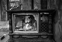 Broken Television. Street photography, Lower East Side, New York. USA
