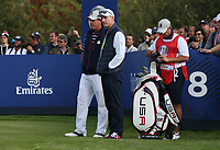 Jim Furyk (Team USA Captain) wonders what's happening to Team USA during Friday's Foursomes, at the Ryder Cup, Le Golf National, Île-de-France, France. 28/09/2018.<br /> Picture David Lloyd / Golffile.ie<br /> <br /> All photo usage must carry mandatory copyright credit (© Golffile | David Lloyd)