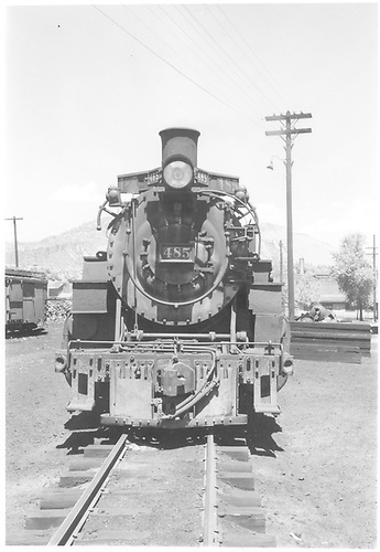 Front view of K-36 #485 at Durango.<br /> D&amp;RGW  Durango, CO  6/1949