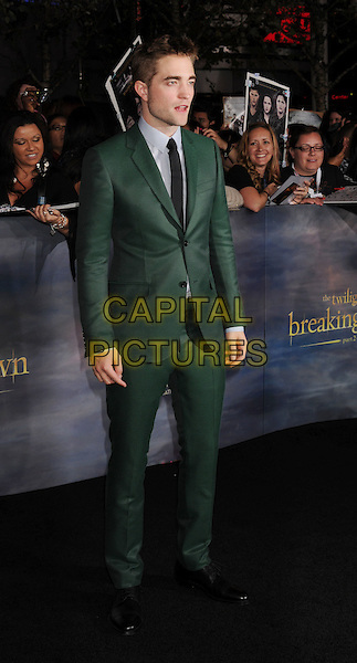 "Robert Pattinson.""The Twilight Saga: Breaking Dawn - Part 2"" Los Angeles Premiere held at Nokia Theatre L.A. Live, Los Angeles, California, USA..November 12th, 2012.full length blue shirt black green suit tie .CAP/ROT/TM.©Tony Michaels/Roth Stock/Capital Pictures"