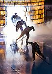 Stockholm 2014-03-21 Ishockey Kvalserien AIK - R&ouml;gle BK :  <br /> AIK spelare under ett intro inf&ouml;r matchen mellan AIK och R&ouml;gle BK <br /> (Foto: Kenta J&ouml;nsson) Nyckelord: