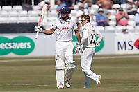 Alastair Cook of Essex raises his bat to celebrate reaching his fifty during Essex CCC vs Somerset CCC, Specsavers County Championship Division 1 Cricket at The Cloudfm County Ground on 25th June 2018