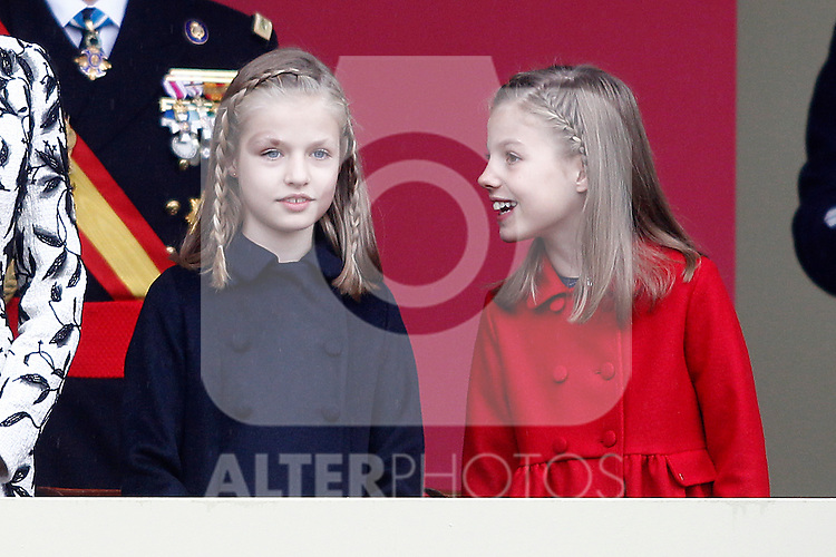 (L-R) Princess Leonor of Spain and Princess Sofia of Spain attend the National Day military parade. October 12 ,2016. (ALTERPHOTOS/Acero)