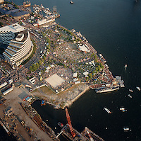 1991 June 9..Redevelopment.Downtown South (R-9)..Harborfest Aerials from helicopter.High angle looking down at Town Point Park.Norfolk Waterfront...NEG#.NRHA#.2 1/4 color negs.06/91 REDEV  :DT Sth3:2  :21  :2-F6.
