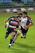 Lelia Masaga has too much pace as he goes past Nic Williams. Air New Zealand Cup rugby game between Counties Manukau Steelers & North Harbour, played at Mt Smart Stadium on August 10th, 2007. The game ended in a 13 all draw.
