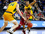 SIOUX FALLS, SD - MARCH 7: Jase Townsend #3 of the Denver Pioneers drives through Tyson Ward #24 and Rocky Kreuser #34 of the North Dakota State Bison at the 2020 Summit League Basketball Championship in Sioux Falls, SD. (Photo by Richard Carlson/Inertia)