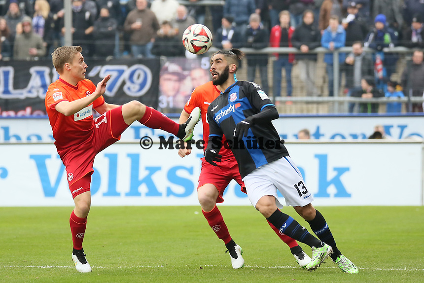 Muhammad Aoudia (FSV) gegen Ruben Jenssen und Dominique Heintz (FCK) - FSV Frankfurt vs. 1. FC Kaiserslautern, Frankfurter Volksbank Stadion