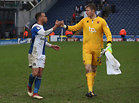 Blackburn Rovers' Elliott Bennett and Blackpool's Joe Lumley at the end of todays match<br /> <br /> <br /> Photographer Rachel Holborn/CameraSport<br /> <br /> The EFL Sky Bet League One - Blackburn Rovers v Blackpool - Saturday 10th March 2018 - Ewood Park - Blackburn<br /> <br /> World Copyright &copy; 2018 CameraSport. All rights reserved. 43 Linden Ave. Countesthorpe. Leicester. England. LE8 5PG - Tel: +44 (0) 116 277 4147 - admin@camerasport.com - www.camerasport.com