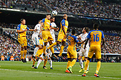 13th September 2017, Santiago Bernabeu, Madrid, Spain; UCL Champions League football, Real Madrid versus Apoel; Igor de Camargo  Apoel challenges Sergio Ramos Garcia (4) Real Madrid for the header