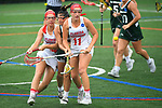 TAMPA, FL - MAY 20: Shannon Mazza #14 and Marina Jozokos #11 of the Florida Southern Mocs collide with Kasi Cabrey #4 of the Le Moyne Dolphins during the Division II Women's Lacrosse Championship held at the Naimoli Family Athletic and Intramural Complex on the University of Tampa campus on May 20, 2018 in Tampa, Florida. Le Moyne defeated Florida Southern 16-11 for the national title. (Photo by Jamie Schwaberow/NCAA Photos via Getty Images)