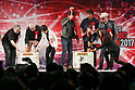Apple co-founder Steve Wozniak (L), comic book writer Stan Lee (2nd fro L), actors Karl Urban (C-L), Nathan Fillion, Michael Rooker (2nd from R) and Karen Fukuhara (R), hit the top led of the sake barrel for good luck during the opening ceremony for the Tokyo Comic Con 2017 at Makuhari Messe International Exhibition Hall on December 1, 2017, Tokyo, Japan. This is the second year that San Diego Comic-Con International held the event in Japan. Tokyo Comic Con runs from December 1 to 3. (Photo by Rodrigo Reyes Marin/AFLO)
