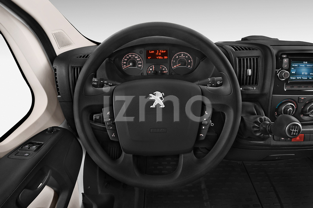 Car pictures of steering wheel view of a 2018 Peugeot Boxer Pro 3 Door Cargo Van