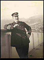 BNPS.co.uk (01202 558833)<br /> Picture: collect<br /> <br /> Capt Turner onboard the Lusitania.<br /> <br /> Crumbs...An incredibly rare 104-year-old biscuit that survived the Lusitania disaster is now tipped to sell for £5,000.<br /> <br /> The round hard tack biscuit was found in one of the lifeboats from the Cunard passenger liner after it was torpedoed by a German U-boat in the First World War.<br /> <br /> Almost 1,200 out of 1,962 civilian passengers and crew on board died in the atrocity that sparked outrage on both sides of the Atlantic.<br /> <br /> Sapper Percy Pennington, of the Royal Engineers, was stationed in County Cork, found the snack in a lifeboat and later posted it home to his parents.