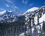 Longs Peak, winter, snow, evergreens, Rocky Mountain National Park, Colorado