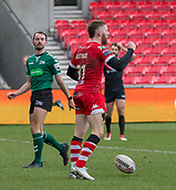 10th February 2019, AJ Bell Stadium, Salford, England; Betfred Super League rugby, Salford Red Devils versus London Broncos; Jackson Hastings of Salford Red Devils scores their second try early in the second half