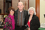 """Derry Branigan, Gerry Campbell and Ruth Campbell at the Launch of  """"30 Years of Set Dancing in Termonfeckin"""" in An Grianan...(Photo credit should read Jenny Matthews/www.newsfile.ie)....This Picture has been sent you under the conditions enclosed by:.Newsfile Ltd..The Studio,.Millmount Abbey,.Drogheda,.Co Meath..Ireland..Tel: +353(0)41-9871240.Fax: +353(0)41-9871260.GSM: +353(0)86-2500958.email: pictures@newsfile.ie.www.newsfile.ie."""