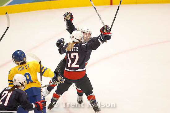 Trent Nelson  |  The Salt Lake Tribune.USA's Jenny Potter and USA's Monique Lamoureux celebrate Lamoureux's first period goal. USA vs. Sweden, women's hockey, at the XXI Olympic Winter Games in Vancouver, Monday, February 22, 2010.
