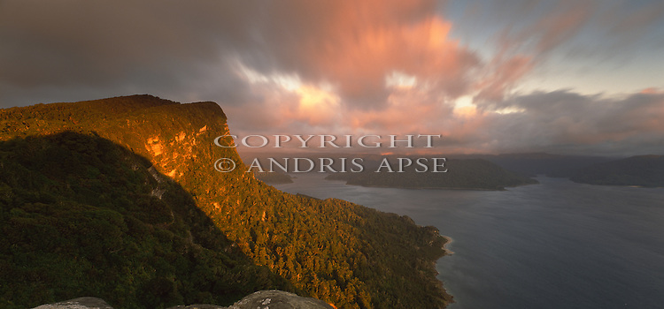 Sunrise on Panekiri Bluff. Overlooking Lake Waikaremoana. Te Urewera National Park. Hawkes Bay Region. New Zealand.