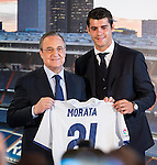 Real Madrid's president Florentino Perez and Alvaro Morata during the presentation of the player at the Santiago Bernabeu Stadium. August 15, 2016. (ALTERPHOTOS/Rodrigo Jimenez)