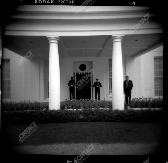 The West Wing entrance to the White House, guarded by Marine Guards, Washington DC, USA, April 10, 2003