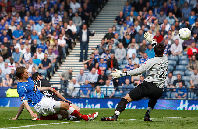 Andrius Velicka scores the opening goal for Rangers