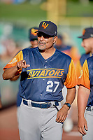 Pitching coach Rick Rodriguez (27) of the Las Vegas Aviators before the game against the Salt Lake Bees at Smith's Ballpark on July 20, 2019 in Salt Lake City, Utah. The Aviators defeated the Bees 8-5. (Stephen Smith/Four Seam Images)