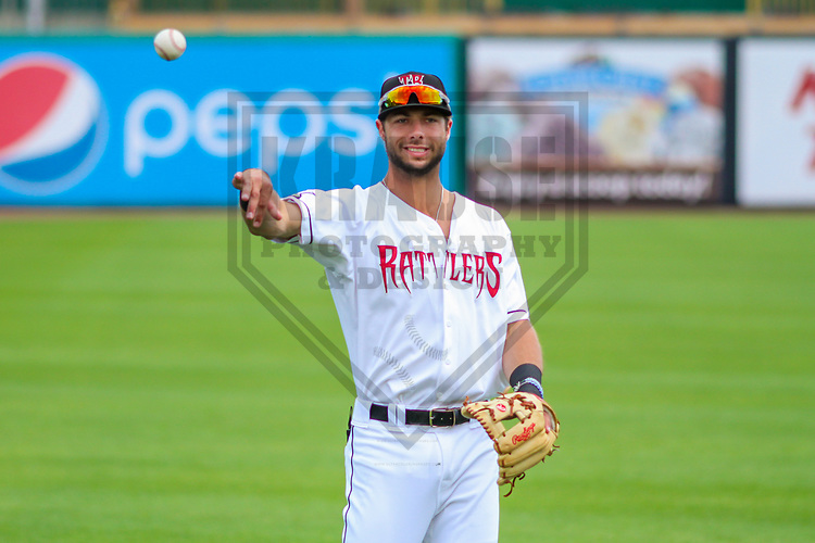 Wisconsin Timber Rattlers third baseman Weston Wilson (3) warms up prior to a Midwest League game against the Burlington Bees on July 10, 2017 at Fox Cities Stadium in Appleton, Wisconsin.  Burlington defeated Wisconsin 6-3. (Brad Krause/Krause Sports Photography)