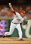 18 May 2012: Washington Nationals pitcher Edwin Jackson in action against the Baltimore Orioles at Nationals Park in Washington, DC. The Orioles defeated the Nationals 2-1 in the first game of their 3-game series. Mandatory Credit: Ed Wolfstein Photo