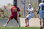 Los Angeles, CA 04/01/16 - Austin Gay (Loyola Marymount #27) and Owen Han (USC #25) in action during the University of Southern California and Loyola Marymount University SLC conference game  USC defeated LMU.