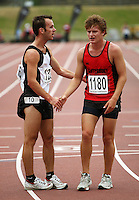 Hawkes Bay Gisbourne's Quentin Rew (left) commiserates with Canterbury's Daniel Lord after beating him in the 3000m walk during the National athletics championships at Newtown Park, Wellington, New Zealand on Friday, 27 March 2009. Photo: Dave Lintott / lintottphoto.co.nz