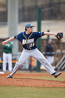 Akron Zips starting pitcher Jon Pusateri (25) in action against the Charlotte 49ers at Hayes Stadium on February 22, 2015 in Charlotte, North Carolina.  The Zips defeated the 49ers 5-4.  (Brian Westerholt/Four Seam Images)