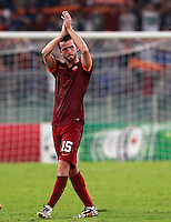Calcio, Champions League, Gruppo E: Roma vs CSKA Mosca. Roma, stadio Olimpico, 17 settembre 2014.<br /> Roma midfielder Miralem Pjanic, of Bosnia, greets fans at the end of the Group E Champions League football match between AS Roma and CSKA Moskva at Rome's Olympic stadium, 17 September 2014. AS Roma won 5-1.<br /> UPDATE IMAGES PRESS/Isabella Bonotto