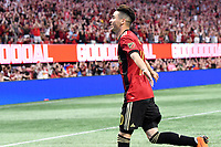 Miguel Almiron goal celebrationAtlanta, Georgia - Saturday, April 28, 2018. Atlanta United defeated the Montreal Impact, 4-1, in front of a crowd of 45,039 at Mercedes-Benz Stadium.