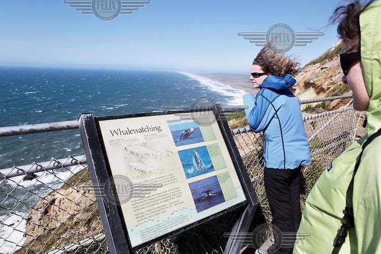 Tourists at point Reyes National Seashore, San Francisco, California.