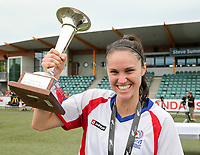 Stephanie Skilton, captain of Auckland celebrates with the trophy after the National Women's Football League Final match between Canterbury United Pride and Auckland Football Federation at English Park in Christchurch, New Zealand on Sunday, 10 December 2017. Photo: Martin Hunter / lintottphoto.co.nz