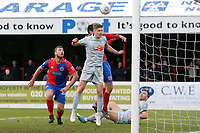 Michael Ledger of Hartlepool United clears the danger during Dagenham & Redbridge vs Hartlepool United, Vanarama National League Football at the Chigwell Construction Stadium on 6th January 2018