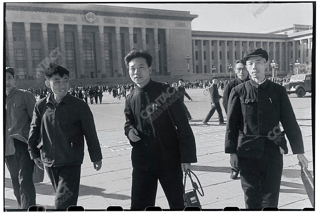 Li (center) in Tiananmen Square in Beijing with colleagues from the Heilongjiang Daily shortly after Mao's fifth appearance before the Red Guards (photograph by Xin Hua). 20 October 1966.