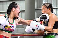 """MONTERIA - COLOMBIA, 19-05-2018: la boxeadora Yazmín """"La rusita """"Rivas (Izq.) de México , conecta un jab de izquierda a la  colombiana  Liliana """"La Tigresa"""" Palmera . La mexicana  ganó por nocaut técnico en el quinto asalto  el título Mundial Supergallo AMB en   el coliseo """"Happy Lora """" de esta ciudad   ./ boxer Yazmín """"La rusita"""" Rivas (L) from Mexico connects a Left jab to the Colombian Liliana """"La Tigresa"""" Palmera, the Mexican won by technical knockout in the fifth round the WBA Super Bantamweight title in the """"Happy Lora"""" coliseum of this city. Photo: VizzorImage / Andrés Felipe López Vargas / Contribuidor"""