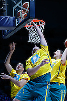 July 14, 2016: Australian players warm up during game 2 of the Australian Boomers Farewell Series between the Australian Boomers and the American PAC-12 All-Stars at Hisense Arena in Melbourne, Australia. Sydney Low/AsteriskImages.com