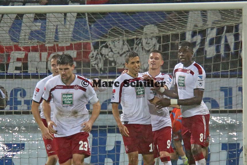 Torjubel um Karim Matmour (FCK) beim 0:3- FSV Frankfurt vs. 1. FC Kaiserslautern, Frankfurter Volksbank Stadion