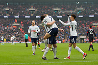 Tottenham Hotspur's Son Heung-Min celebrates scoring his side's second goal with team mate Harry Kane <br /> <br /> Photographer Craig Mercer/CameraSport<br /> <br /> The Premier League - Tottenham Hotspur v Huddersfield Town - Saturday 3rd March 2018 - Wembley Stadium - London<br /> <br /> World Copyright &copy; 2018 CameraSport. All rights reserved. 43 Linden Ave. Countesthorpe. Leicester. England. LE8 5PG - Tel: +44 (0) 116 277 4147 - admin@camerasport.com - www.camerasport.com