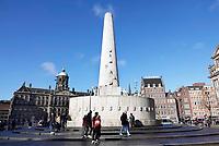 Nederland - Amsterdam - 2019. Het Nationaal Monument op de Dam. Het Monument op de Dam in Amsterdam is een monument voor de herdenking van de Tweede Wereldoorlog in Nederland.   Foto Berlinda van Dam / Hollandse Hoogte.
