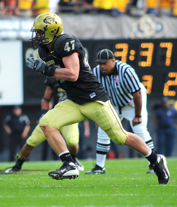 06 September 08: Colorado linebacker Shaun Mohler (47) ona play against Eastern Washington. The Colorado Buffaloes defeated the Eastern Washington Eagles  31-24 at Folsom Field in Boulder, Colorado. FOR EDITORIAL USE ONLY